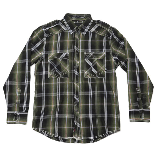 DZT Military L/S Button Up Shirt (Green Plaid)
