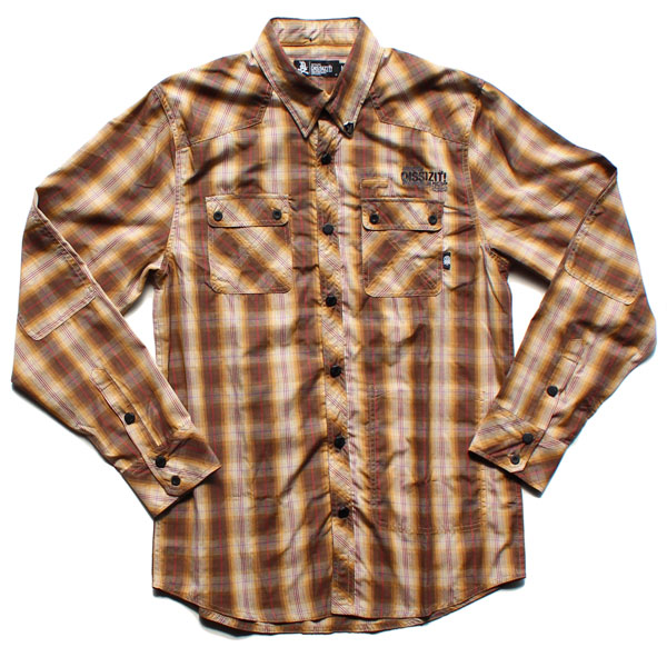 A dope distribution official online store for Brown and black plaid shirt
