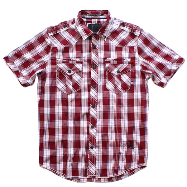 Liberty S/S Button Up Shirt (Burgundy Plaid)