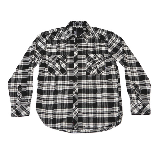 DZT Military L/S Button Up Shirt (Black/White Plaid)