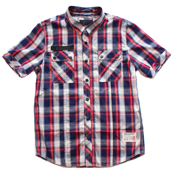 SSDD S/S Button Up Shirt (Bright Navy/Red Plaid)