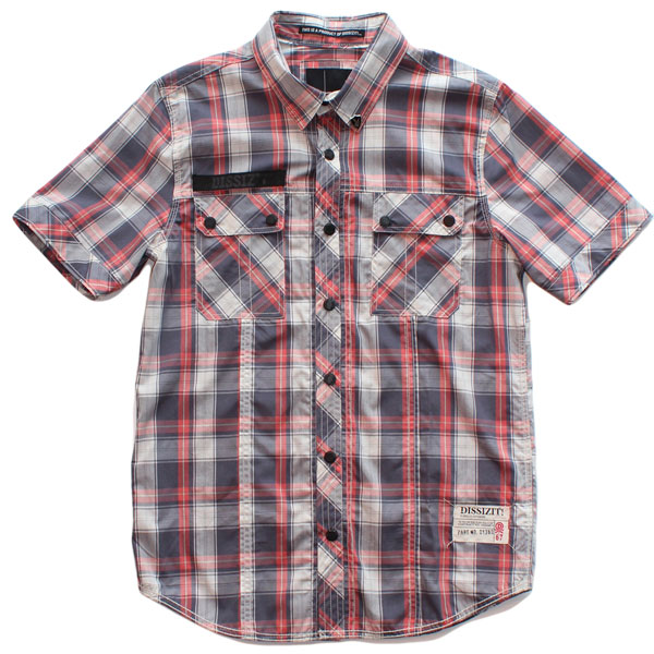 SSDD S/S Button Up Shirt (Faded Navy/Red Plaid)